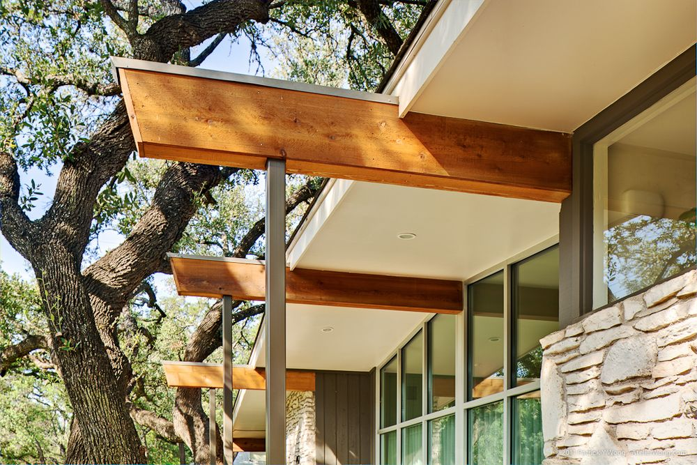 Wood Rafter Detail At Tube Steel Support Architectural