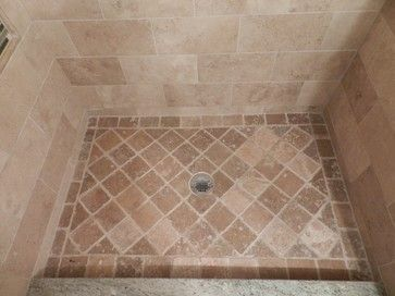 New Line Design   Custom Shower Pan With 4x4 Tumbled Noce Travertine Tile.