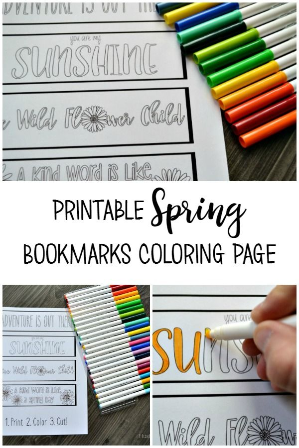 Printable Spring Bookmarks Coloring Page | Coloring, Stickers ...
