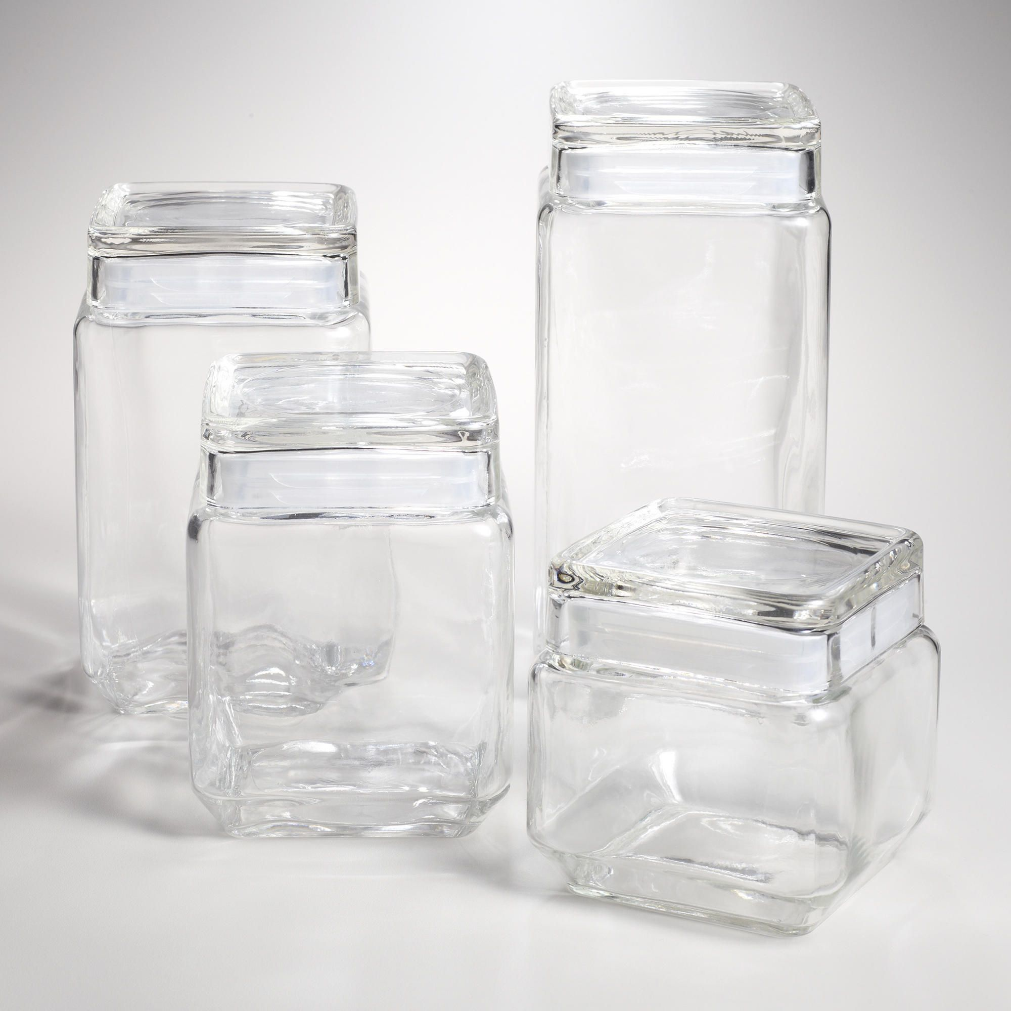 Black Kitchen Storage Jars Stackable Square Glass Jars With Lids Crafting Jars And Markers