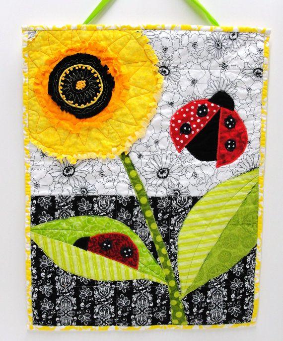 Wall art quilt fringed triple poppy and by moonspiritstudios ...
