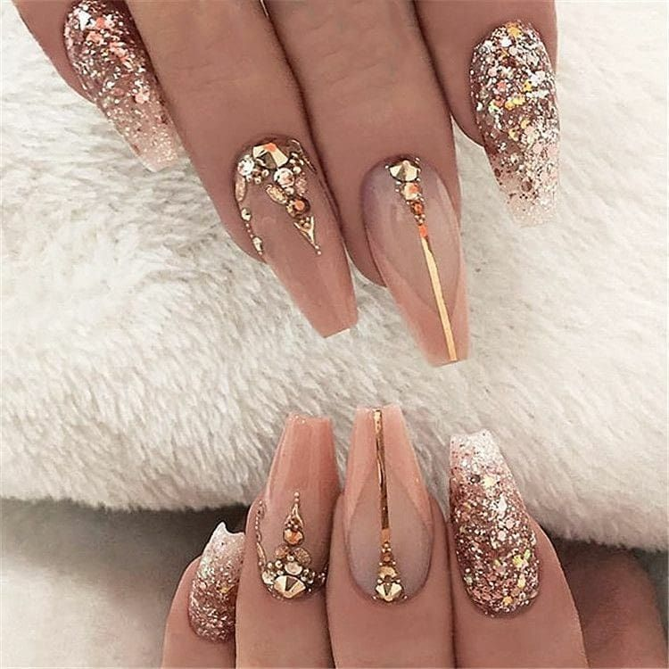 Amazing Nail Art Designs Ideas In 2020 Coffin Nails Long Bling Nails Prom Nails