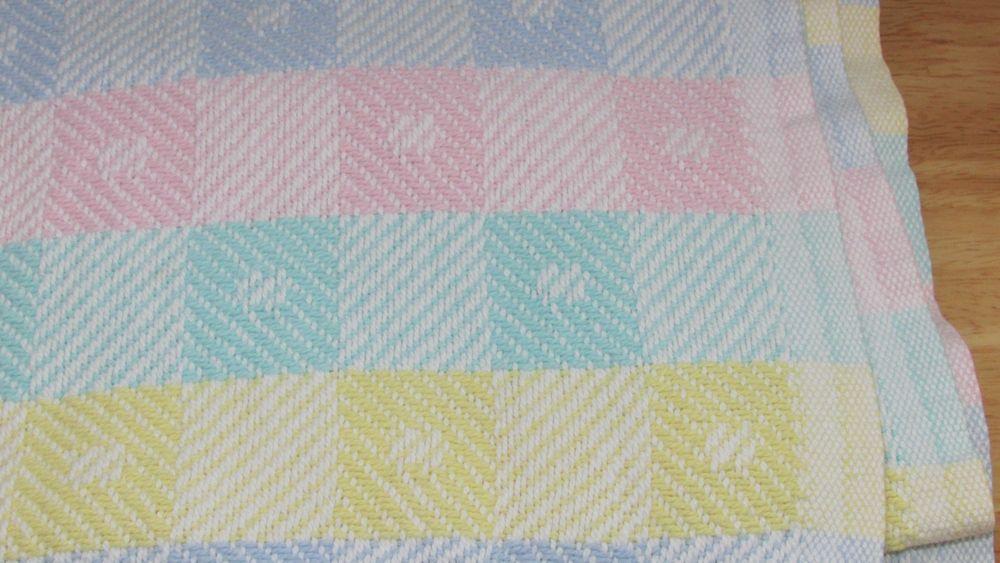 Wpl 1675 Vintage Cotton Woven Knit Baby Blanket Pastel Color Block Squares Usa Vintage Baby Blanket Knitted Baby Blankets Baby Knitting