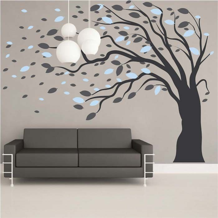 Blowing Tree Wall Art Design | Wall Art Designs, Tree Wall Art And