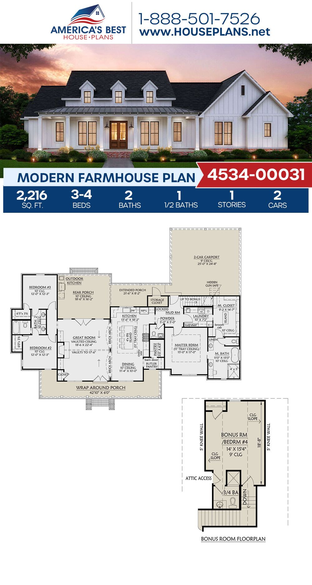 House Plan 4534 00031 Modern Farmhouse Plan 2 216 Square Feet 3 4 Bedrooms 2 5 Bathrooms House Plans Farmhouse Modern Farmhouse Plans Porch House Plans