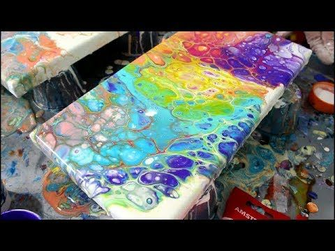 Acrylic Rainbow Fluid Paint Pour No Mud Youtube
