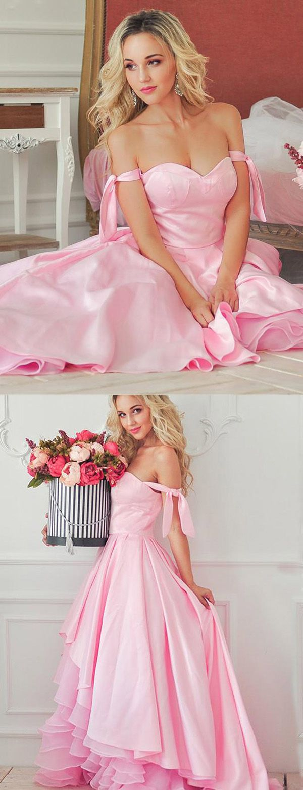 Fashion a line off the shoulder tiered pink high low prom dress in