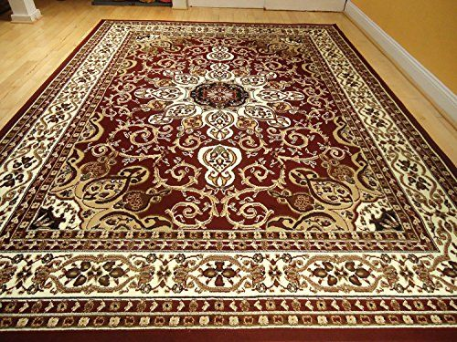 Area Rug Traditional Persian Design 8x11 Burgundy 8x10 Cream Beige Carpet Living Room