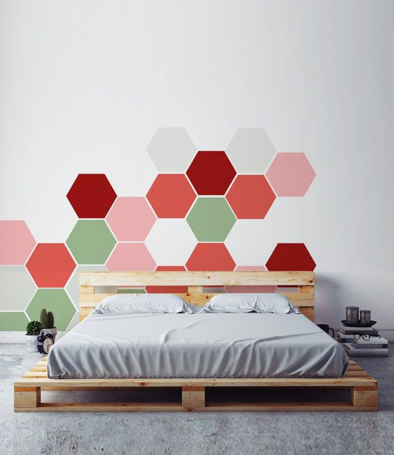 removable honeycomb wall decal 6 hexagon stickers by nicematches rh pinterest com