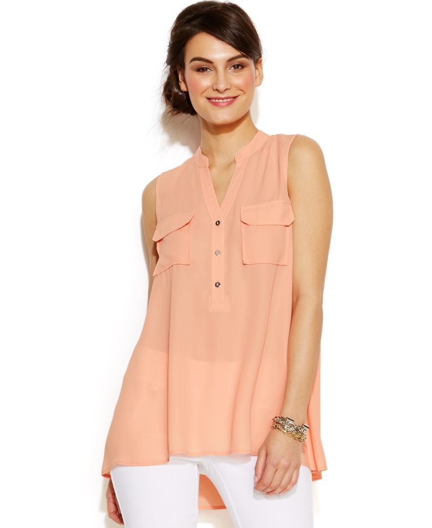 Alfani Petite Sleeveless Flap-Pocket Blouse