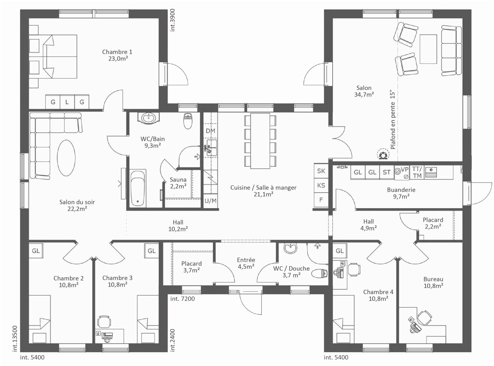 Plan De Maison Plain Pied 4 Chambres Rraf 15