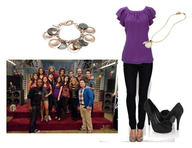 """Iparty with......Tori"" by coffeeshopchick ❤ liked on Polyvore featuring ASOS, Forever 21, Madewell, Nine West, skinny jeans, purple, icarly, tori vega, victorious and black heels"