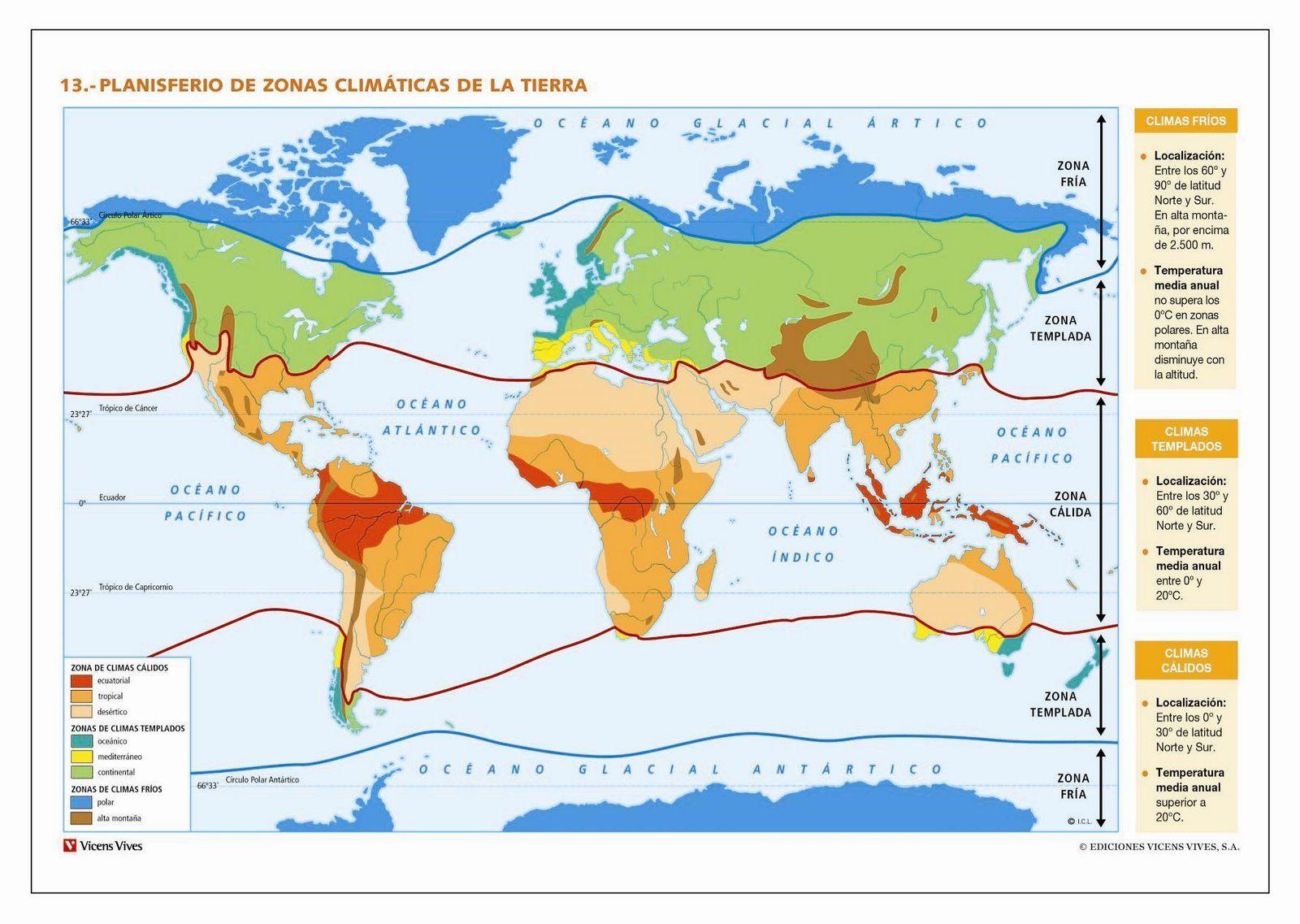 Mapa Del Tiempo En El Mundo.Mapa De Las Diferentes Zonas Climaticas De Nuestro Planeta