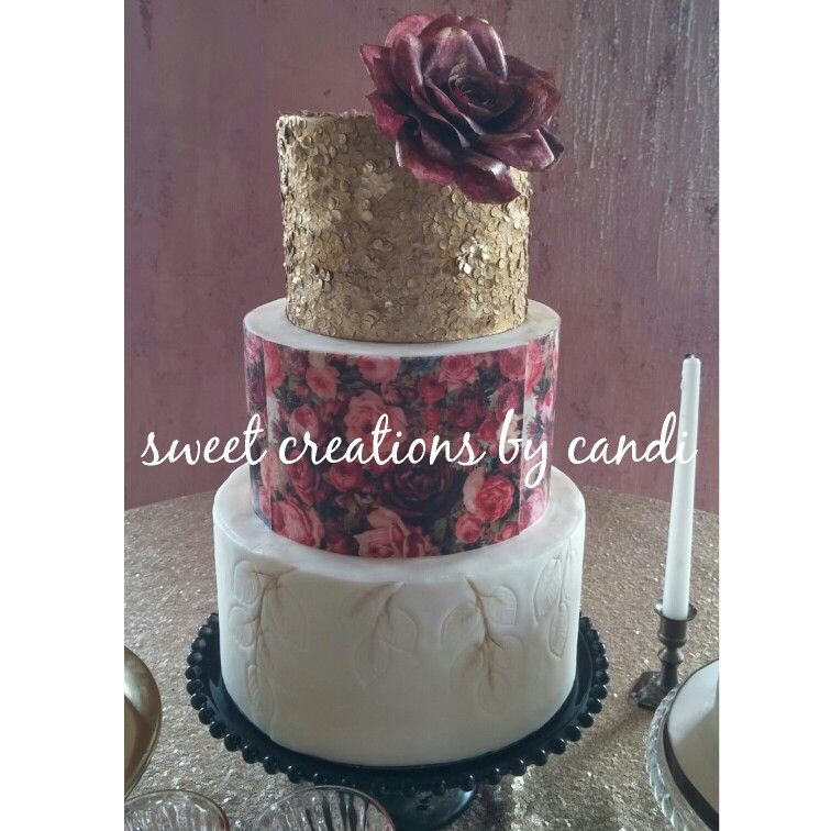Wafer paper rose and sequins on embossed fondant #sweetcreationsbycandi