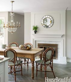 Dining Table In Front Of Fireplace