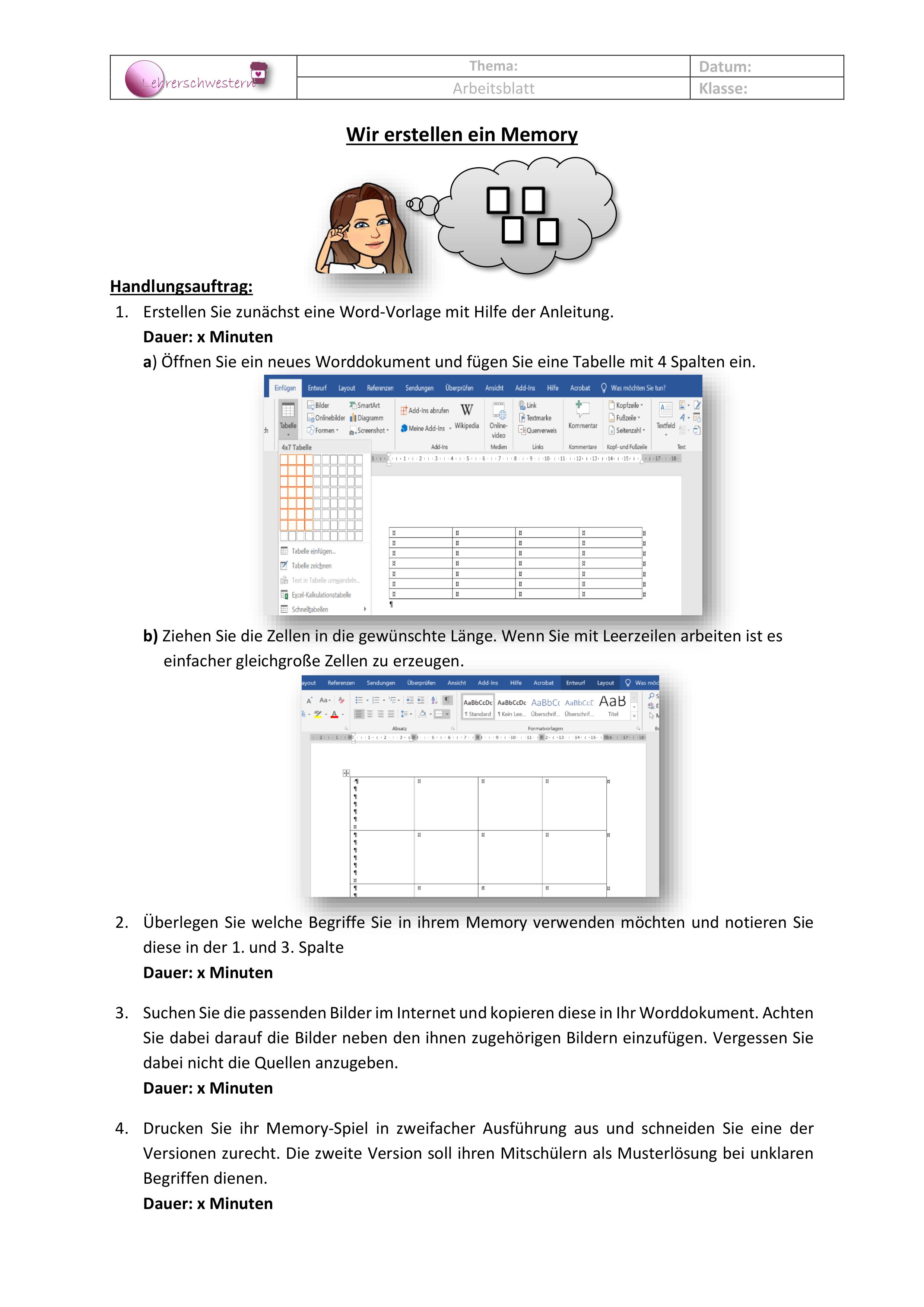 Wir erstellen ein Memory® Arbeitsblatt – Unterrichtsmaterial im ...