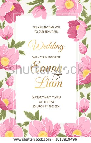 Wedding event invitation card template Hellebore anemone poppy - fresh wedding invitation vector templates free download
