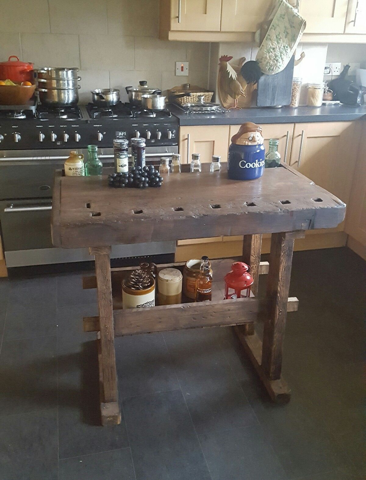 rustic vintage workbench table ideal for kitchen island this item is rh pinterest com