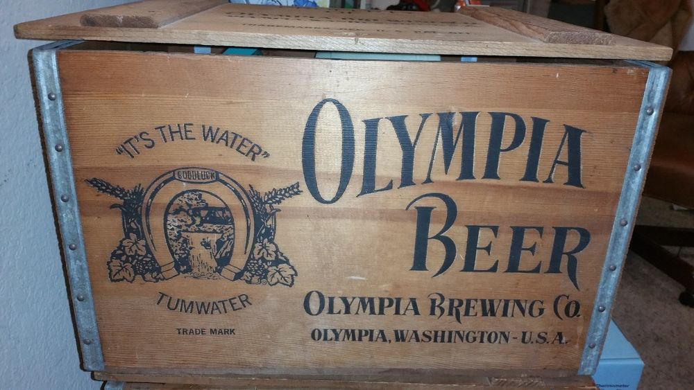 Vintage Olympia Beer Wooden Beer Box Crate