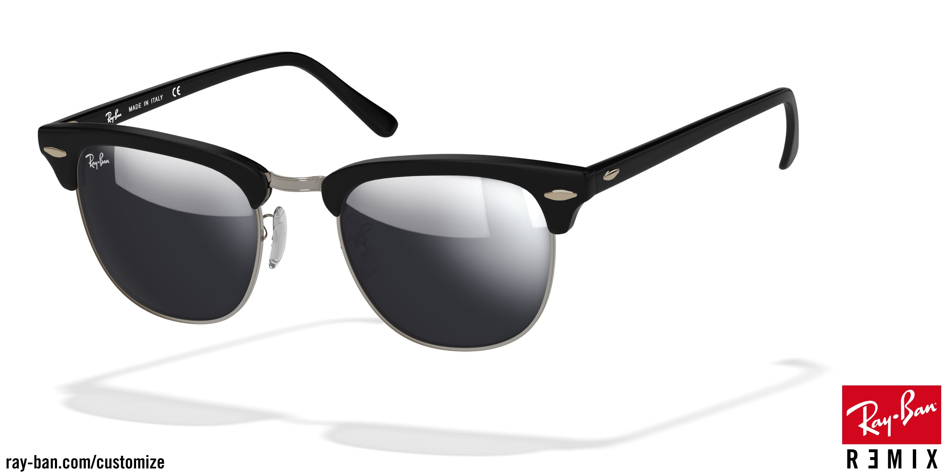 ray ban clubmaster sunglasses silver  custom ray ban clubmaster classic rb3016 with matte black frame, gunmetal hardware and mirrored silver flash lenses. ray