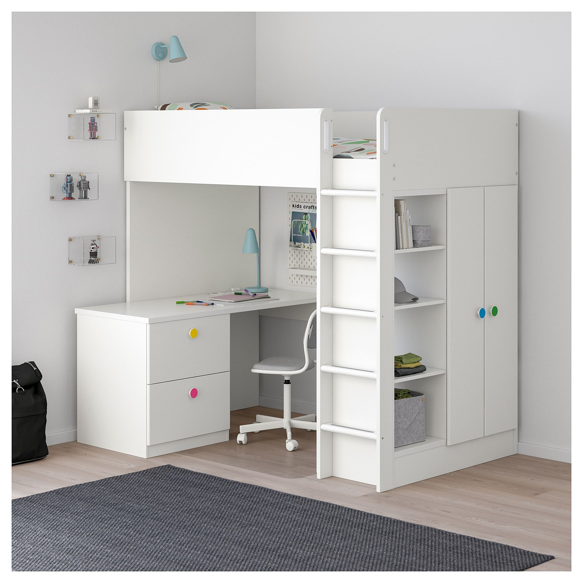 Loft bed with desk white  IKEA  STUVA  FÖLJA Loft bed with  drawers doors white in