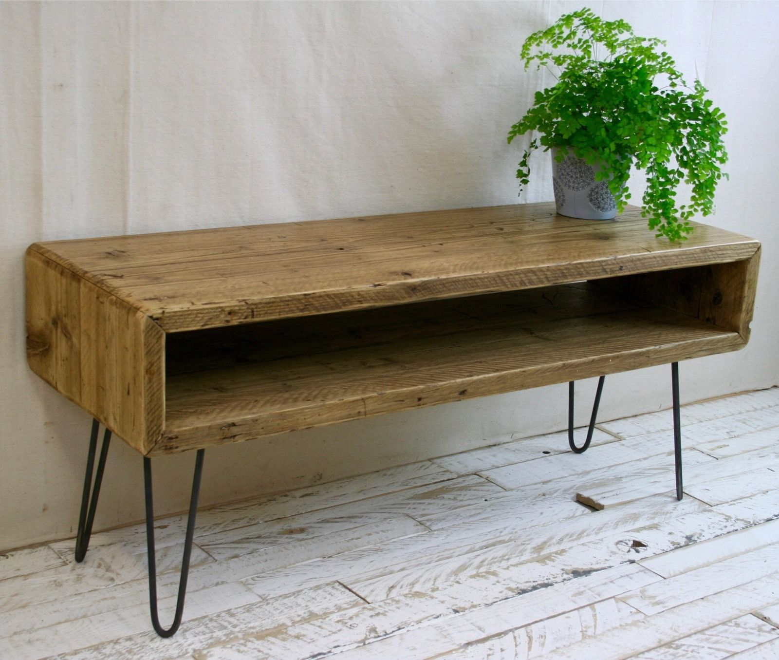 Rustic Tv Stand Reclaimed Scaffold Boards Industrial Wood Unit  # Table Tv Plasma En Bois Angle