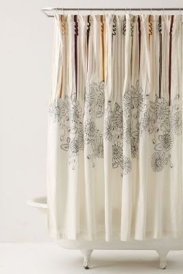NWT Anthropologie White Rivulets Shower Curtain MSRP $118