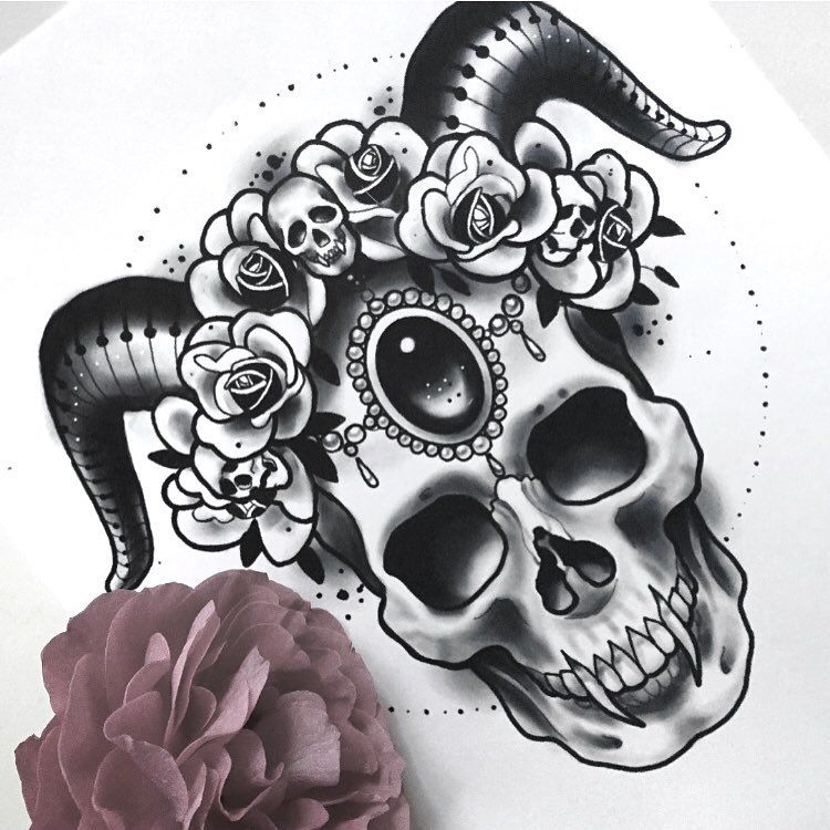 "💀 Cecile 💀's Instagram profile post: ""💀🌸💀 . . . . #instaart #drawing #instadraw #illustration #artoftheday #instaartist #skull #digitalpainting #digitalart #horns…"""