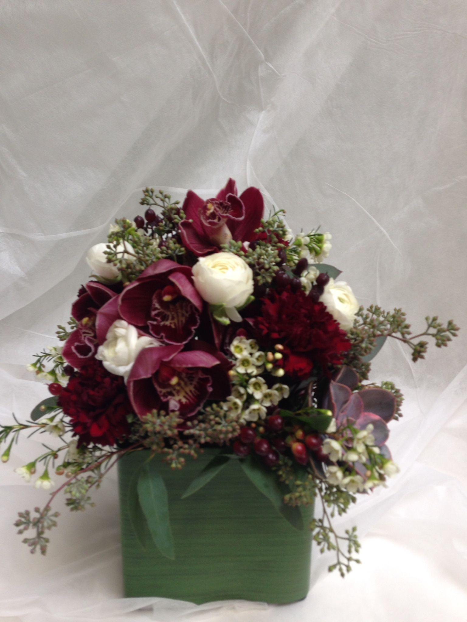 Marsala centerpiece wine burgundy crimson orchids