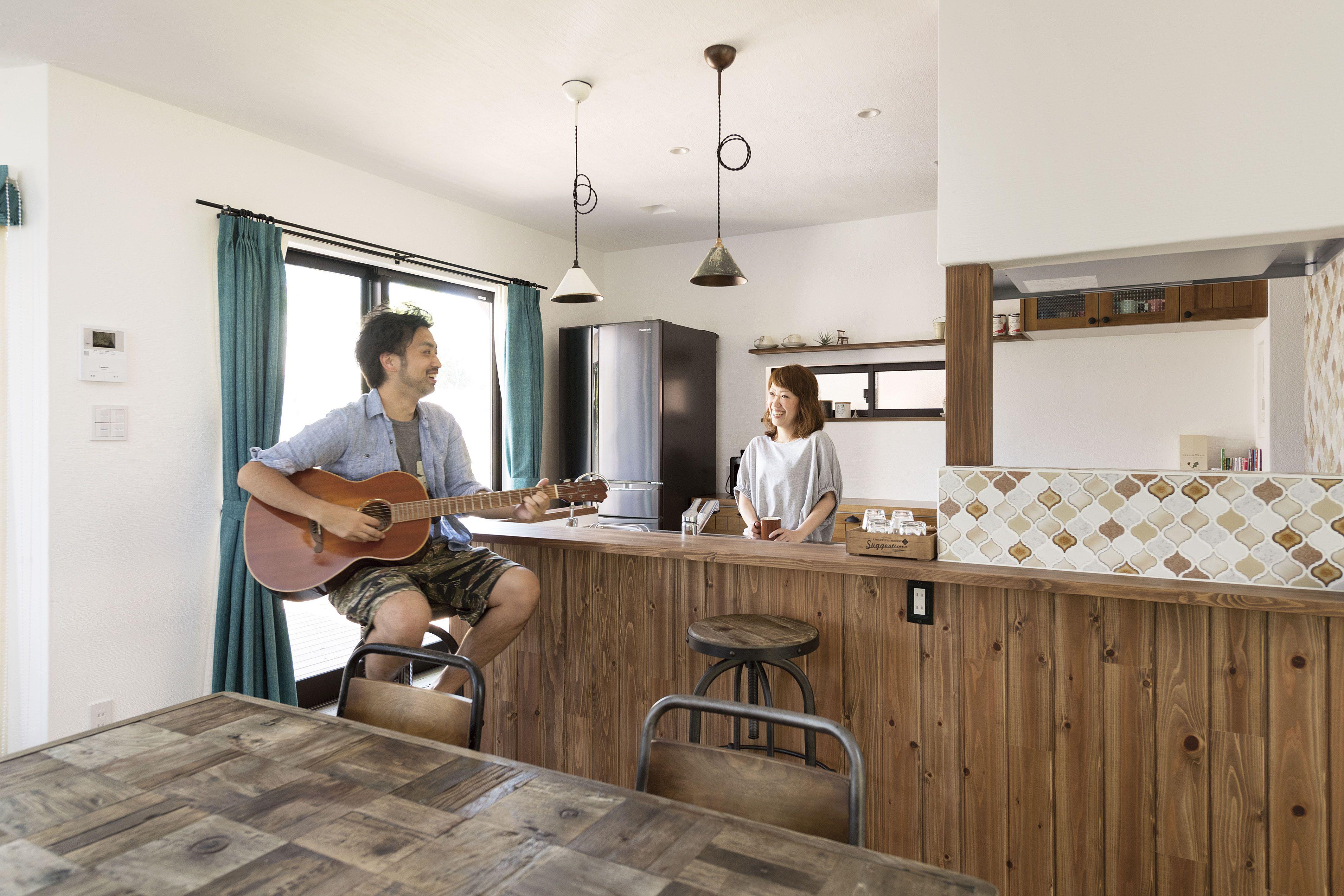 ケース77 カフェ風 キッチン 無添加住宅 キッチン