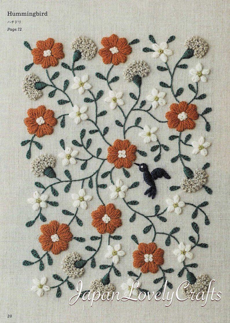 Handstickerei botanische Muster, bestickte Blume, Pflanze, Blatt, Vogel-Design, einfache Stich Tutorial, Stick-Geschenke, handgemachte Home Decor