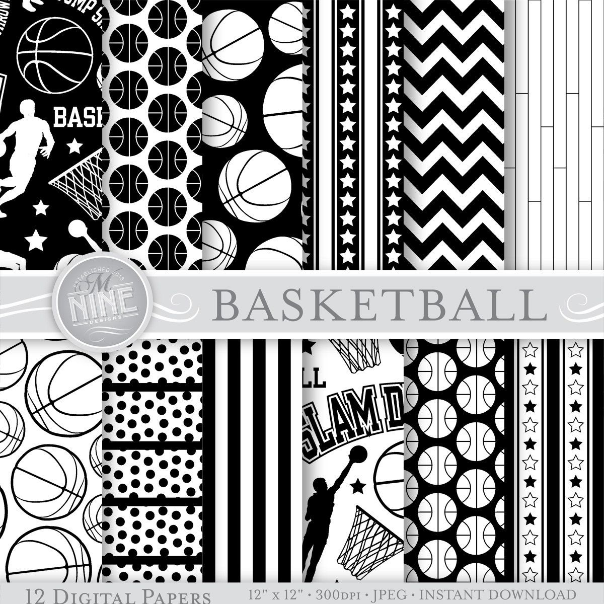 basketball digital paper black white basketball by mninedesigns rh pinterest com