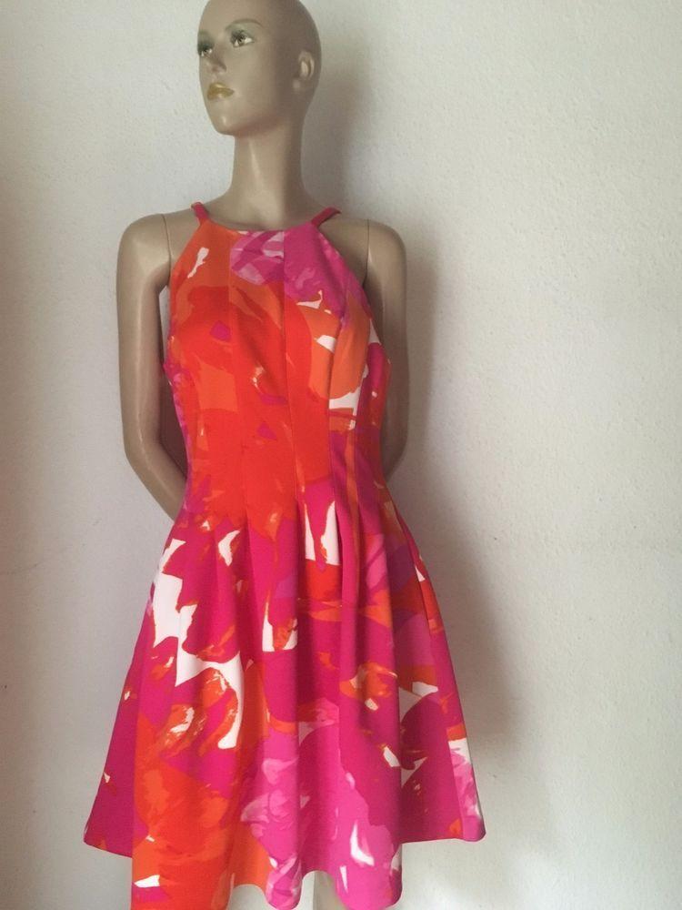 e6551d51676ab6 50er Kleid pink orange Rock mit Stand Neopren 38 40 Blumenprint retro