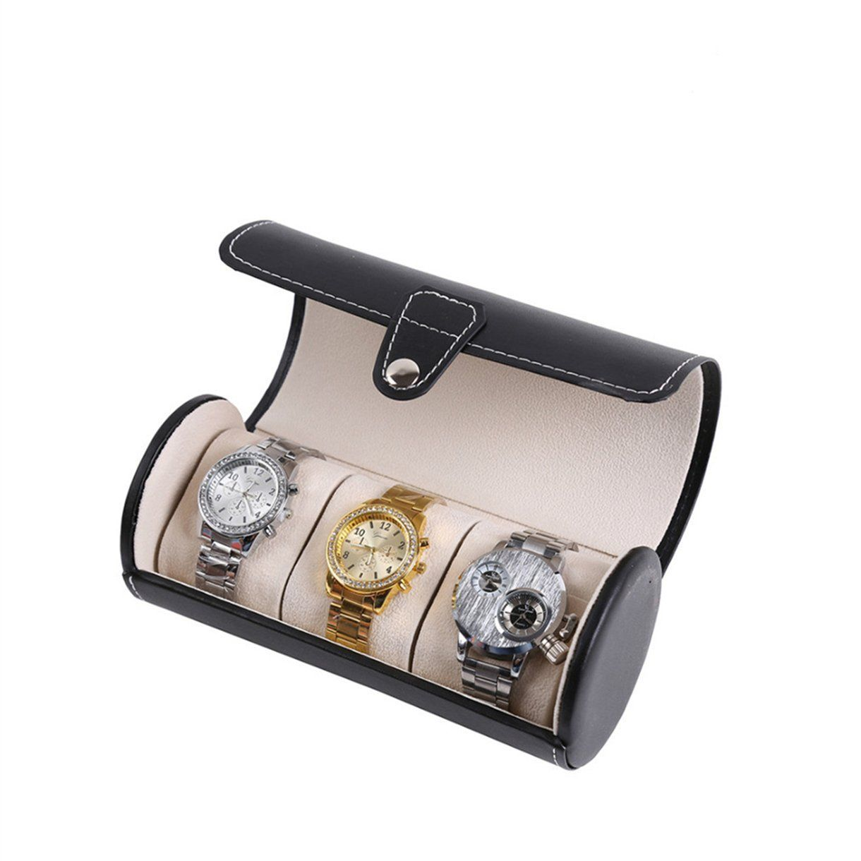 OrliverHL Watch Box 3 Mens Black Leather Display Glass Top Jewelry