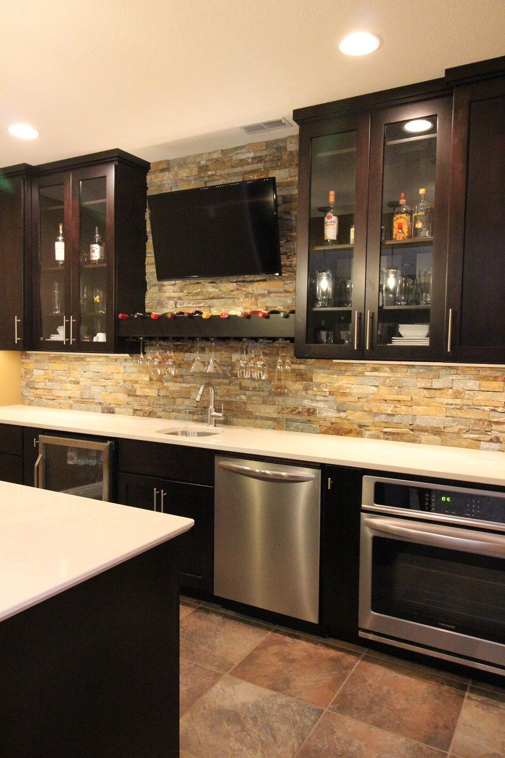 basement bar custom cabinets with quartz countertops and stack rh pinterest nz