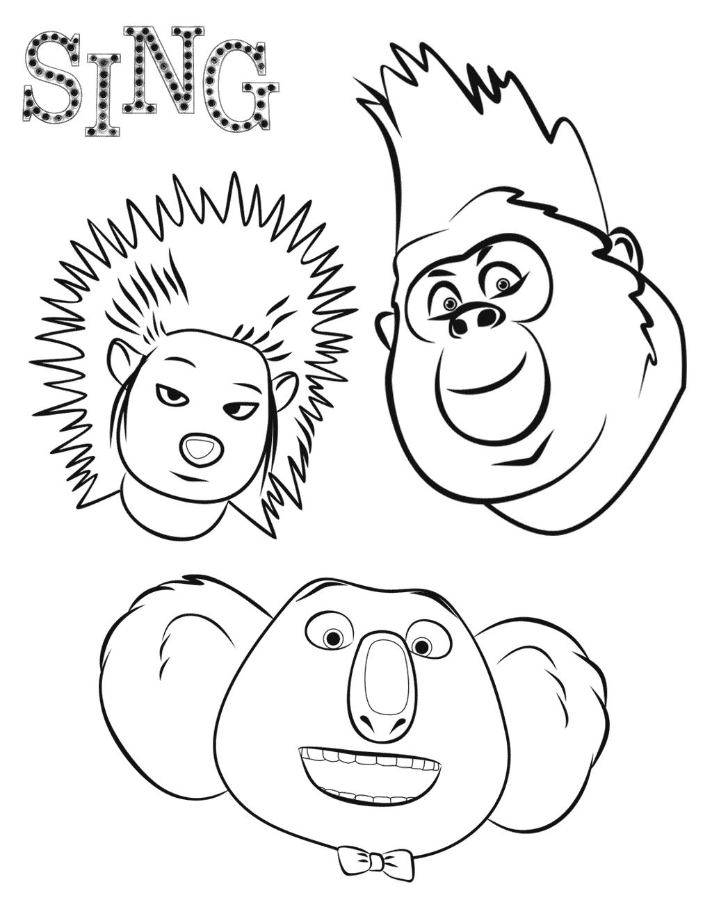 Sing Kleurplaten Ash Johnny Koala Sing Kleurplaten Pinterest