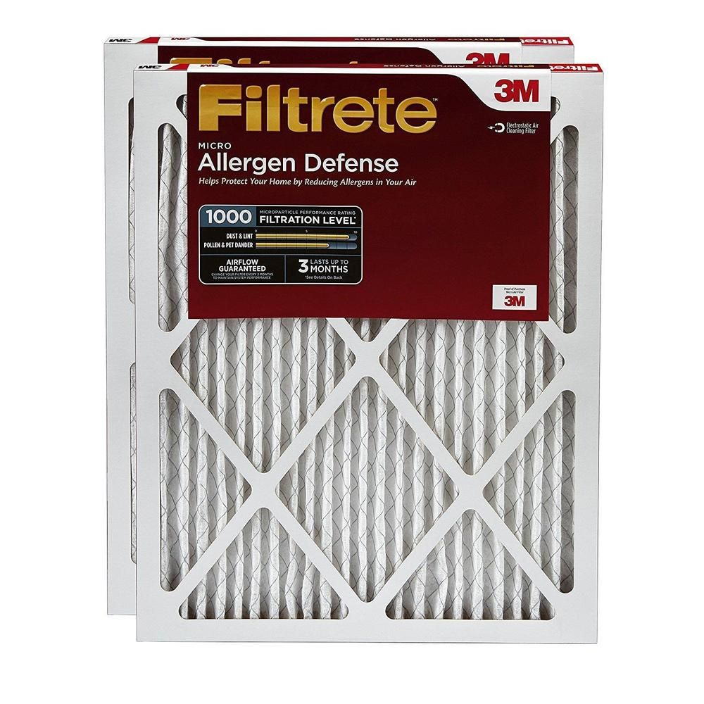 HVAC Air Filters 2 Pack Micro Allergen Defense MPR 1000 20 x 1 Inch Clean Dust  #Filtrete