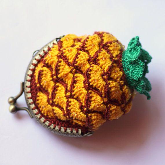 Monedero ananas piña crochet algodon por ColoriDellArcobaleno