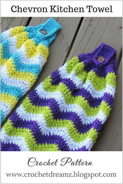 Chevron Kitchen Towel Free Crochet Pattern Free Crochet Towels