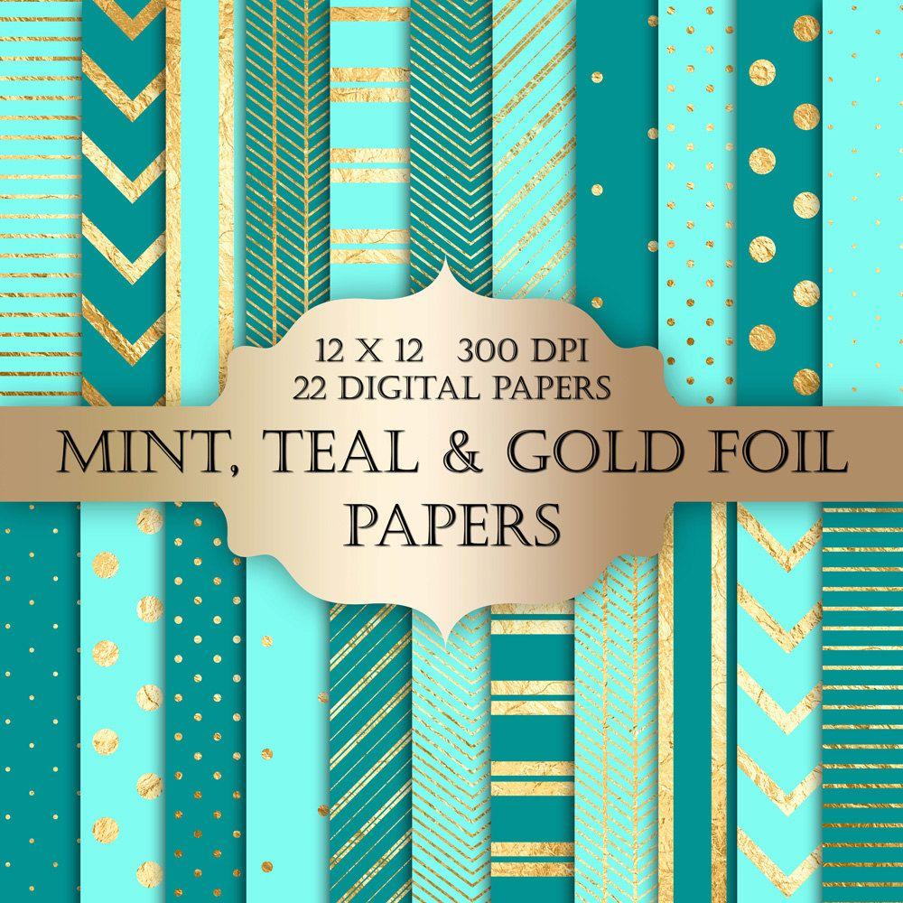 How to scrapbook with glitter - Gold Foil Polka Dot Stripes Chevron Digital Paper Polka Dot Glitter Metallic Printable Backgrounds Scrapbooking Invitations Mint Teal
