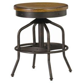 Perfect pulled up to your home bar or kitchen island, this wood and metal swivel stool features an adjustable seat and distressed hickory finish.