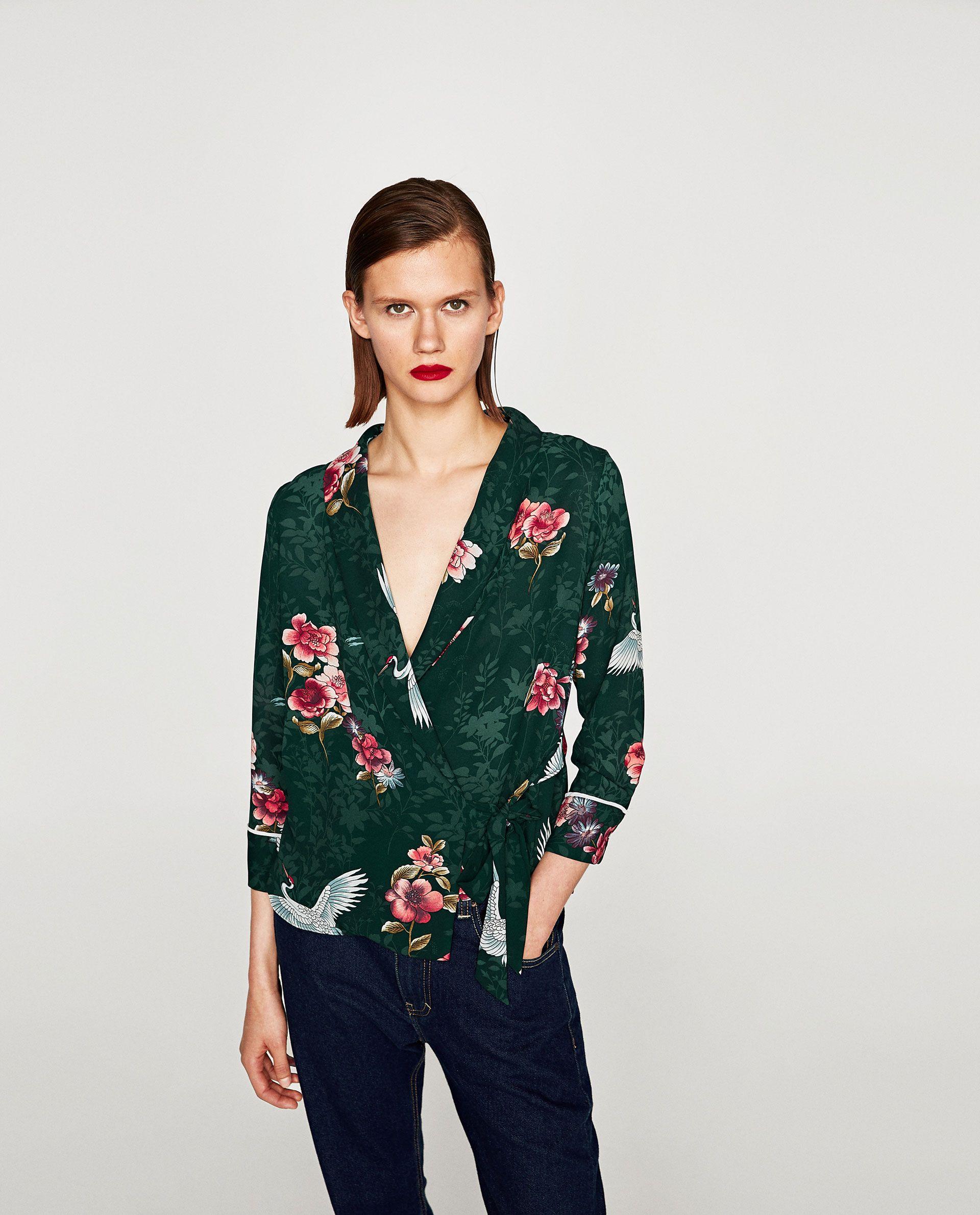 2019 professionnel Couleurs variées doux et léger ZARA GREEN HERON PRINT WRAP BLOUSE | My Closet | Wrap blouse ...