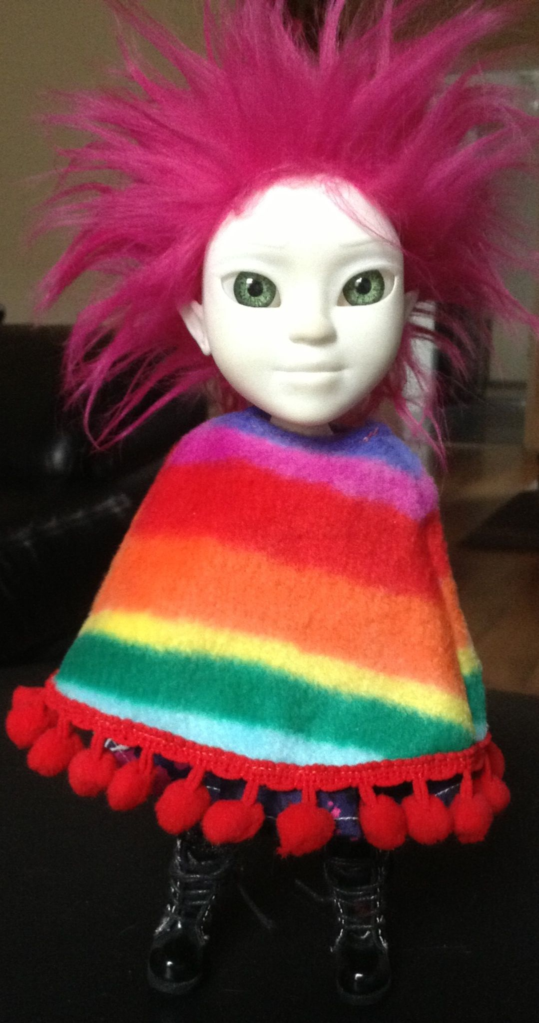 Makie Me 'Tina' showing off her rainbow poncho and pink hair....3D printed doll http://makie.me/