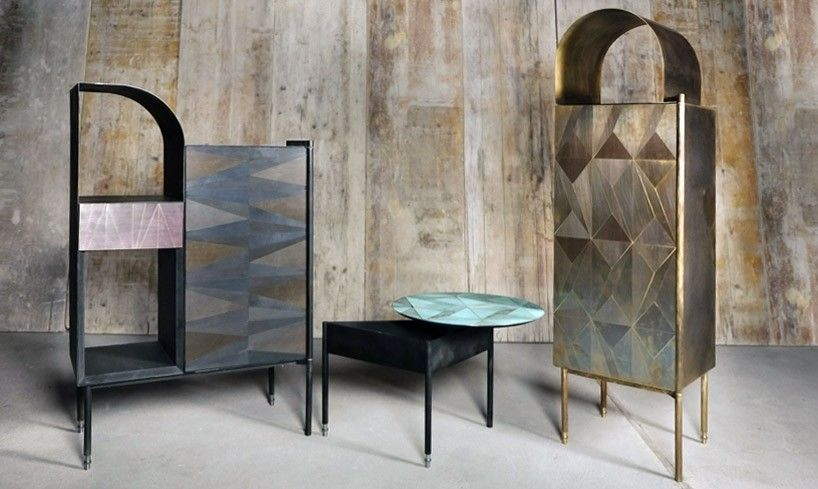 the pieces rethink the use of materials, where each one undergoes an experimental process of oxidation which causes a unique and unpredictable alteration to its surface.