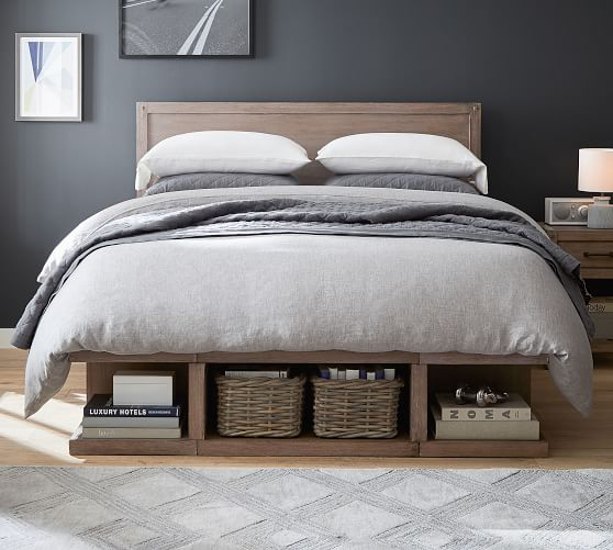 Brooklyn Storage Platform Bed Headboard Pottery Barn In 2020 Headboards For Beds Platform Bed With Storage Storage Bed