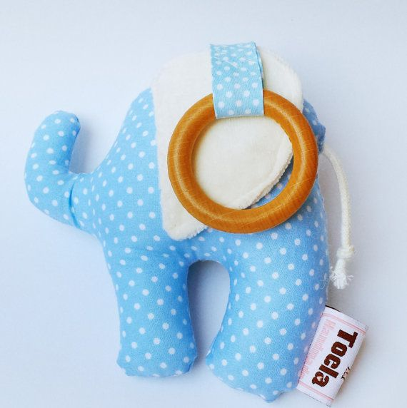 Elephant Toy Rattle in Baby blue polka dots patternGreat by Toela, €17.50