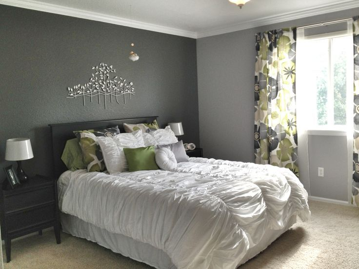 Loving The Dark Accent Wall! Grey Master Bedroom   Dark Accent Wall, Fun  Patterned Curtains (with Matching Shams), And Bright White Bedding.