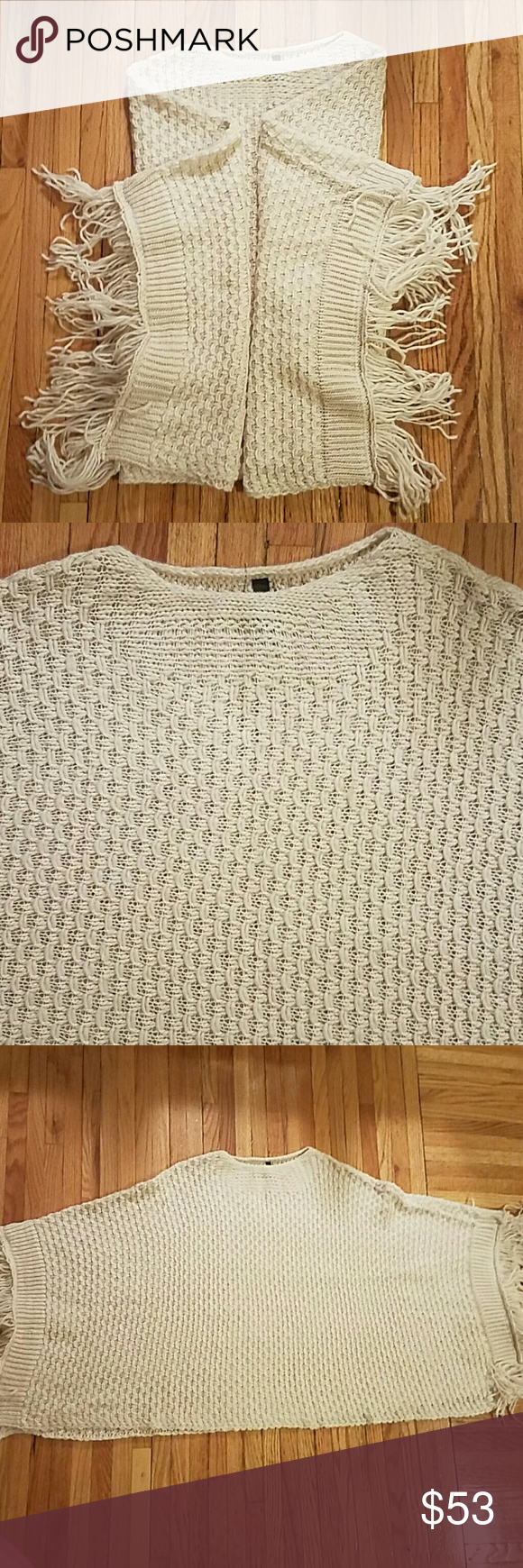 Elan Sweater Poncho Adorable crochet sweater poncho. Great condition. Perfect for fall. 45in from bottom end to end. Elan Sweaters Shrugs & Ponchos