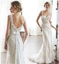 2015 Mermaid White/Ivory Wedding dress Bridal gown Size 6 8 10 12 14 16 Custom