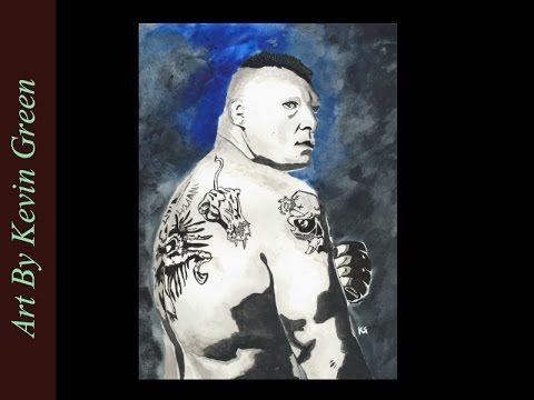 Brock Lesner Watercolor (speed painting) WWE UFC